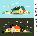 night and day vector flat... | Shutterstock .eps vector #549321118
