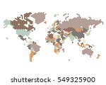 dotted world map of hexagonal... | Shutterstock . vector #549325900