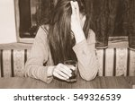 alcoholic drunk woman with a...   Shutterstock . vector #549326539