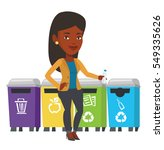 girl throwing away plastic... | Shutterstock .eps vector #549335626