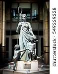 Small photo of CAPE TOWN, SOUTH AFRICA - 19 DECEMBER 2016: Victoria and Alfred Waterfront BoE Copy statue of Shepherdess and Cupids outside Nedbank Building - Original commissioned by BoE in 1894