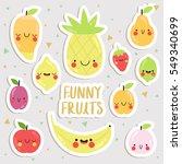 big set of cute cartoon fruits... | Shutterstock .eps vector #549340699