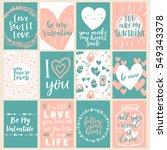 huge vector set of valentines... | Shutterstock .eps vector #549343378