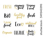 labels with vegetarian and raw... | Shutterstock .eps vector #549343390