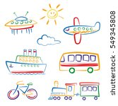 child's drawing of transport... | Shutterstock .eps vector #549345808