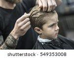 pretty little boy in a black... | Shutterstock . vector #549353008