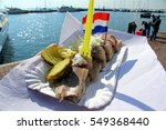 Stock photo volendam netherlands a dutch herring ready to eat 549368440