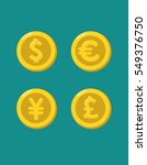 icons of gold coins with images ... | Shutterstock .eps vector #549376750