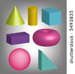 colorfull 3d geometric shapes | Shutterstock . vector #5493835