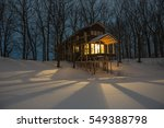 Wooden Cottage At Night In The...