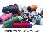 colored spools of thread ... | Shutterstock . vector #549391660