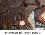 crafting tools on natural cow... | Shutterstock . vector #549410590