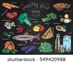 healthy food menu  avocado ... | Shutterstock .eps vector #549420988