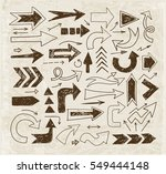 doodle sketch arrows on vintage ... | Shutterstock .eps vector #549444148
