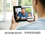 video conference with financial ... | Shutterstock . vector #549454480