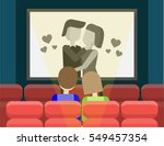 couple watching retro old black ... | Shutterstock .eps vector #549457354