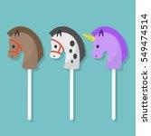 set of hobbyhorse toys   flat... | Shutterstock .eps vector #549474514