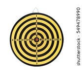 Small photo of Dart board isolated on white background. Vintage yellow black shooting target red center. Aim with numbers. textured, macro view. front view