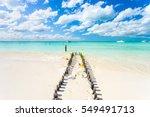 an idyllic beach on isla... | Shutterstock . vector #549491713