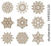 snowflake vector set in beige... | Shutterstock .eps vector #549505120