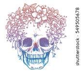 colorfull skull and flower... | Shutterstock .eps vector #549505678
