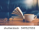 cup of coffee with glasses and... | Shutterstock . vector #549527053