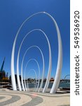 Small photo of PERTH, AUSTRALIA, 1 MAY 2016 - Spanda, a 29-metre sculpture at Elizabeth Quay. The $1.3 million artwork is made of steel & carbon fibre & located on The Landing at the north end of the quay. Editorial