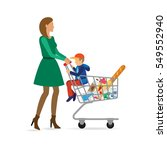 mom with a child is shopping in ... | Shutterstock . vector #549552940