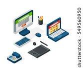 isometric office equipment... | Shutterstock .eps vector #549560950