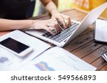 business team working on laptop ... | Shutterstock . vector #549566893