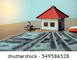 house from the paper and money...   Shutterstock . vector #549586528