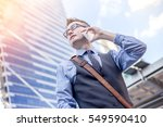 happy business men call by... | Shutterstock . vector #549590410