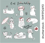 cute cats friendly cats cats... | Shutterstock .eps vector #549592693