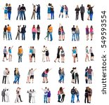 collection back view young... | Shutterstock . vector #549593554