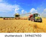 overloading grain harvester... | Shutterstock . vector #549607450