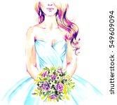 bride with bouquet in wedding... | Shutterstock . vector #549609094