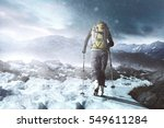 hiking in winter mountains at...   Shutterstock . vector #549611284