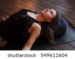 woman resting after a yoga... | Shutterstock . vector #549612604