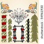 art nouveau olive pomegranate | Shutterstock .eps vector #54961930