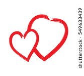 red hearts icon. brush texture... | Shutterstock . vector #549633439