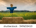 Scarecrow On Straw Bales And...
