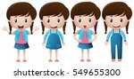 cute girl with happy smile... | Shutterstock .eps vector #549655300