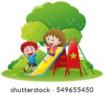 two kids playing slide in the... | Shutterstock .eps vector #549655450