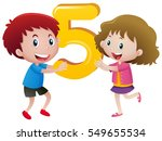 boy and girl holding number... | Shutterstock .eps vector #549655534
