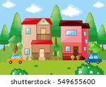 family urban house scene | Shutterstock .eps vector #549655600
