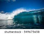 front view of big ocean wave in ...   Shutterstock . vector #549675658