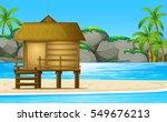 wooden hut on the beach... | Shutterstock .eps vector #549676213