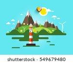 vector lighthouse illustration. ... | Shutterstock .eps vector #549679480