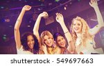 pretty girls with arms up... | Shutterstock . vector #549697663