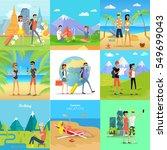 set of people on summer... | Shutterstock .eps vector #549699043